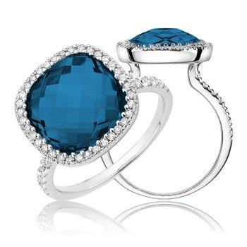 Large Gemstone Halo Ring