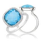 RnB Jewellery Large Gemstone Halo Ring