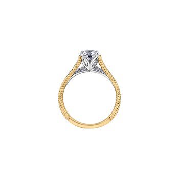 Eternal Flames Rope Twist Engagement Ring in Yellow Gold