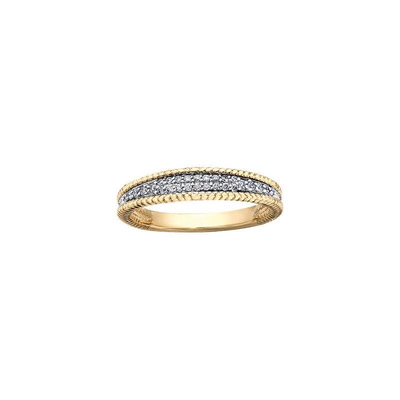 Maple Leaf Diamonds Eternal Flames Rope Twist Engagement Ring in Yellow Gold