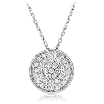 Large Pave Diamond Circle Pendant