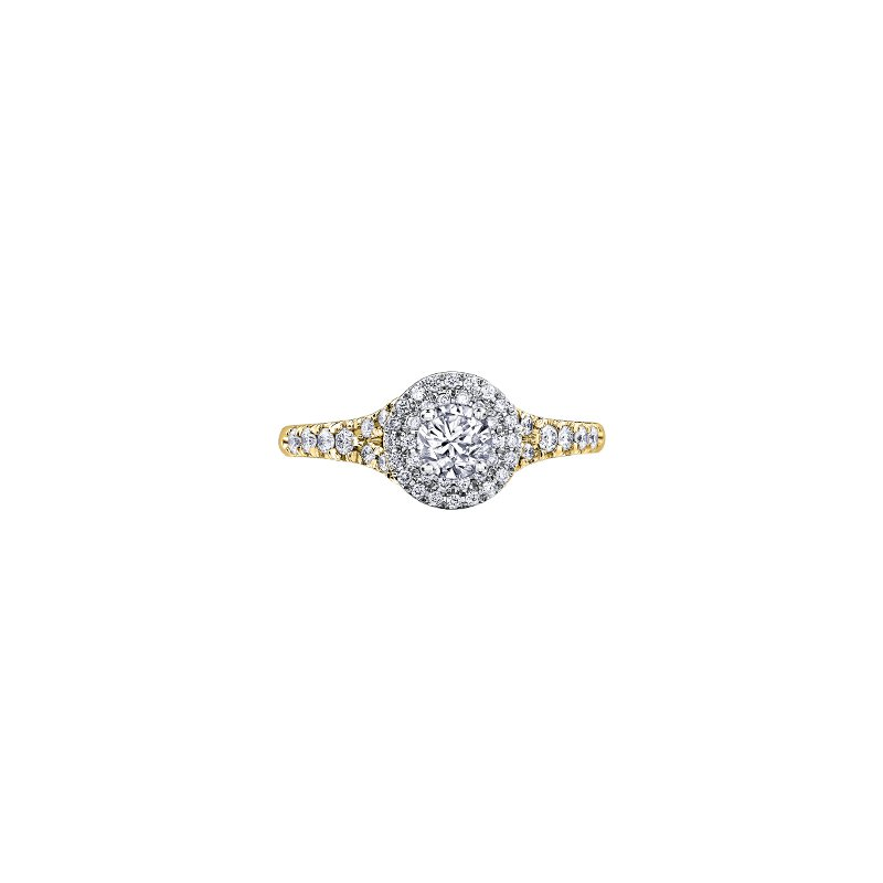 Maple Leaf Diamonds Tides of Love Double Halo Engagement Ring in Yellow Gold
