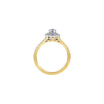 Tides of Love Double Halo Engagement Ring in Yellow Gold