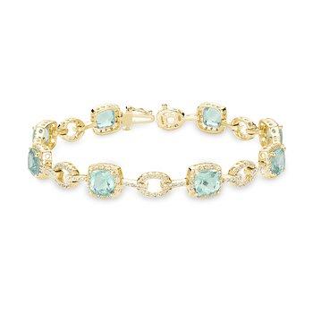 Green Quartz and Diamond Bracelet