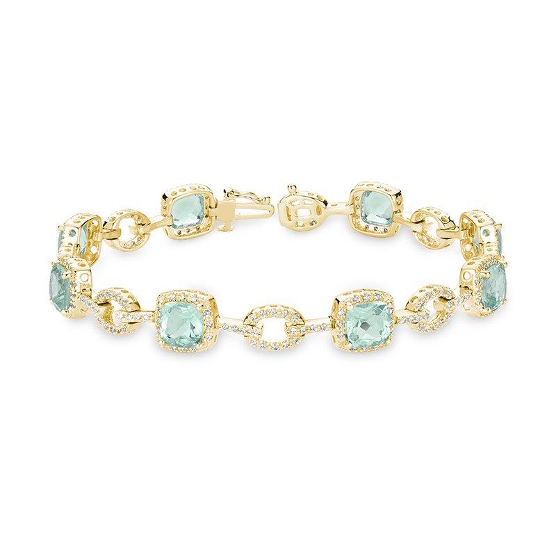 RnB Jewellery Green Quartz and Diamond Bracelet
