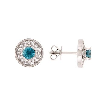 Vintage Inspired Blue Zircon Stud Earrings