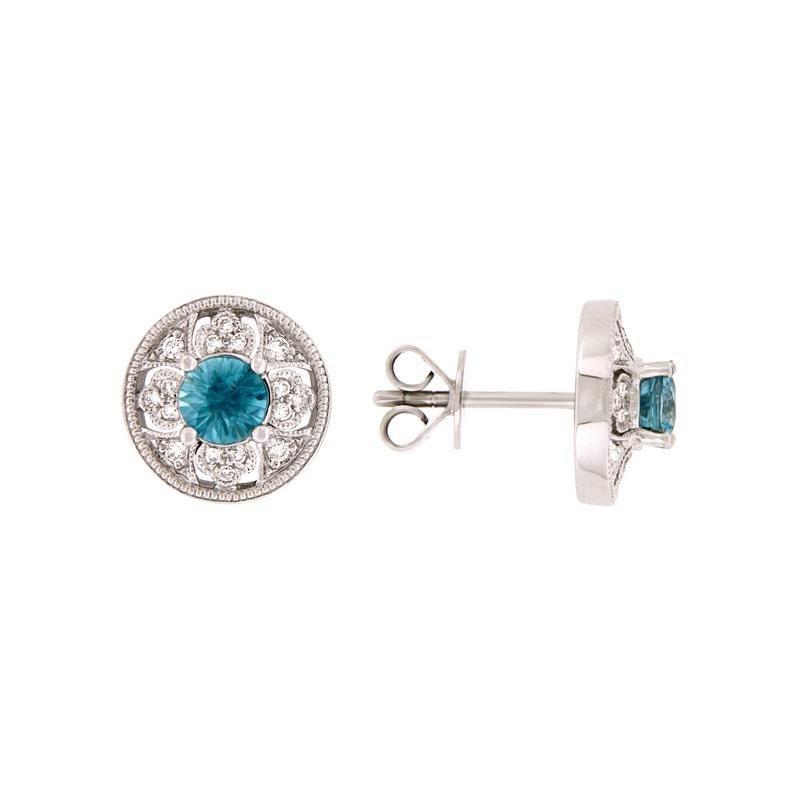 Davidson's Signature Vintage Inspired Blue Zircon Stud Earrings