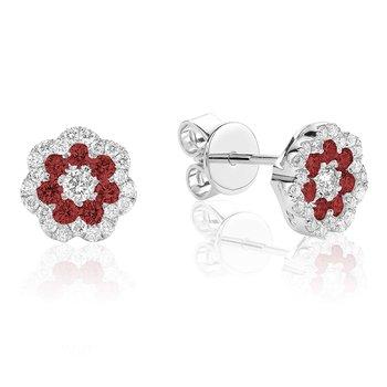Gemstone and Diamond Cluster Stud Earrings