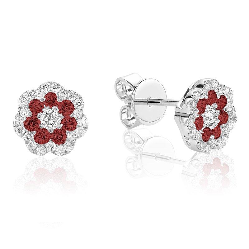 RnB Jewellery Gemstone and Diamond Cluster Stud Earrings