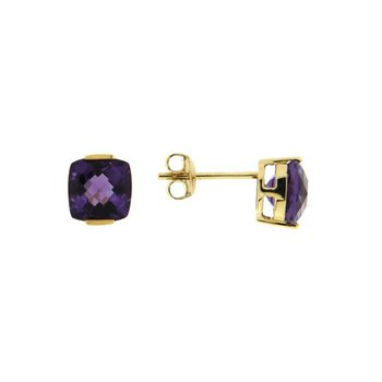 Cushion Amethyst Stud Earrings