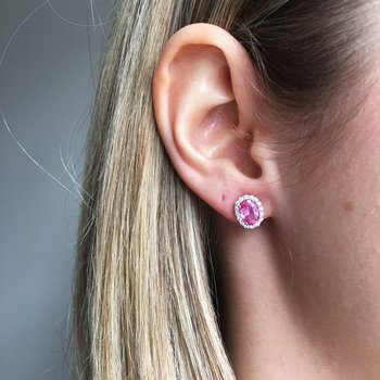 Pink Sapphire Oval Halo Stud Earrings