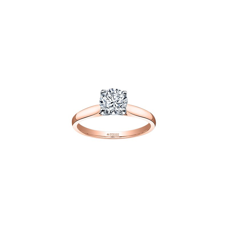 Maple Leaf Diamonds Eternal Flames 4 Prong Solitaire Ring in Rose Gold