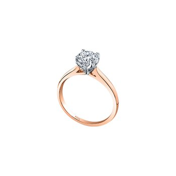 Eternal Flames 4 Prong Solitaire Ring in Rose Gold