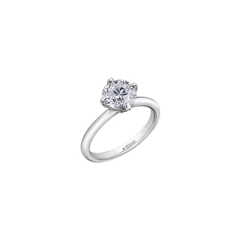 Maple Leaf Diamonds 150 Cut Collection 4 Prong Solitaire Engagement Ring in White Gold