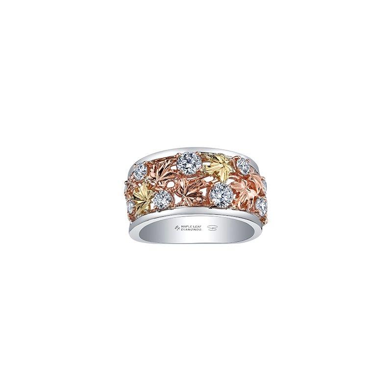 Maple Leaf Diamonds Autumn Falling Leaves Wide Ring