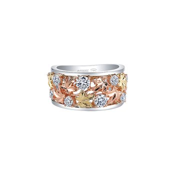 Autumn Falling Leaves Wide Ring
