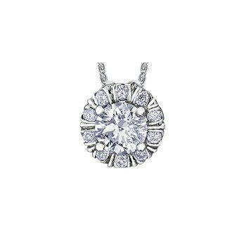 Winter Diamond Fur-Trim Pendant