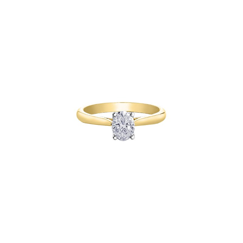 Maple Leaf Diamonds Eternal Flames Oval Solitaire Ring in Yellow Gold
