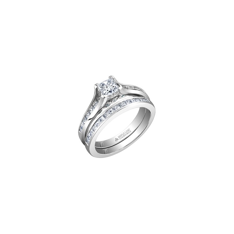 Maple Leaf Diamonds Tides of Love Princess Cut Engagement Ring with Princess Cut Band