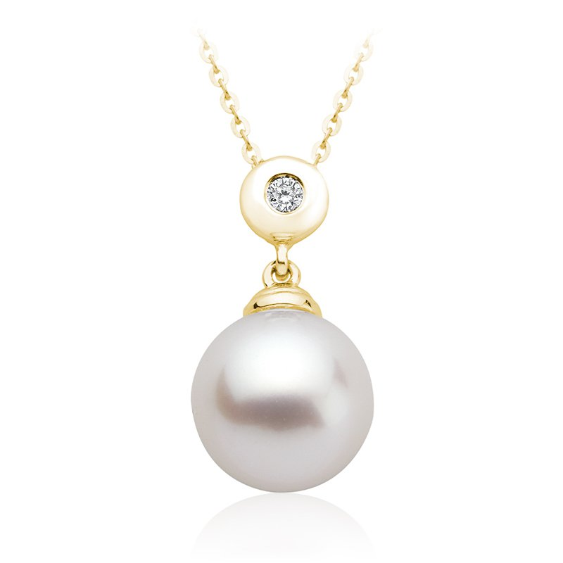 RnB Jewellery Diamond and Pearl Drop Pendant
