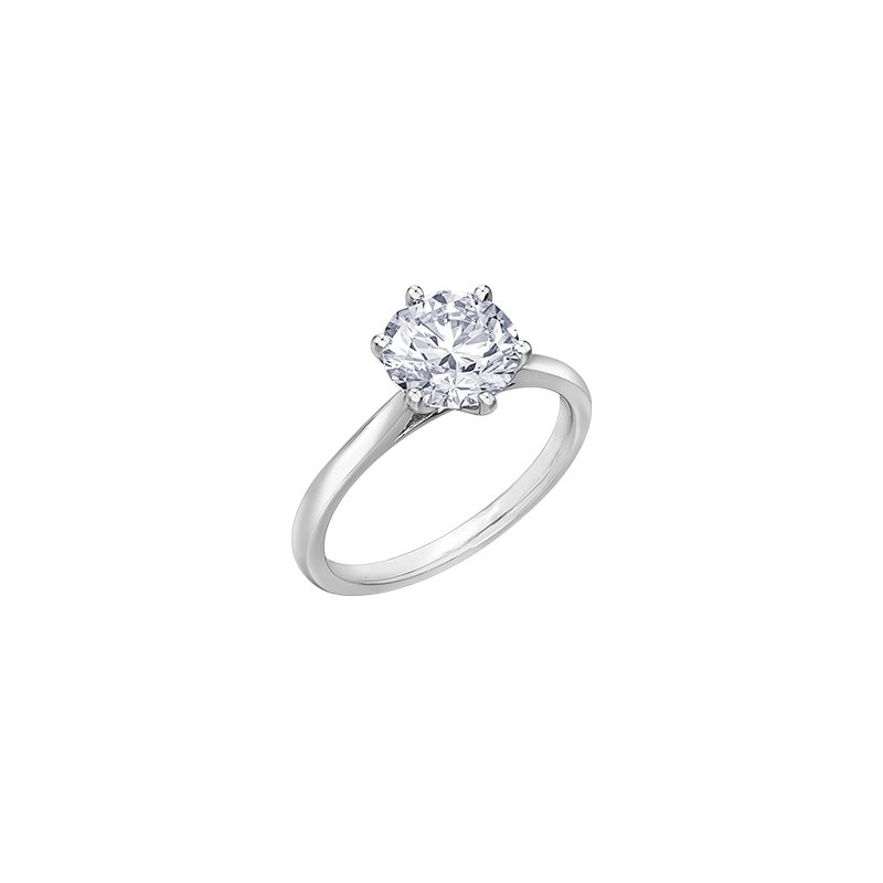 Maple Leaf Diamonds 6 Prong Solitaire Engagement Ring in White Gold