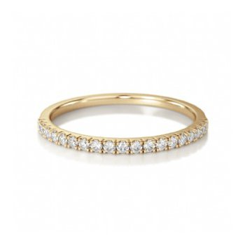 Half Way Diamond Set Band in Yellow Gold