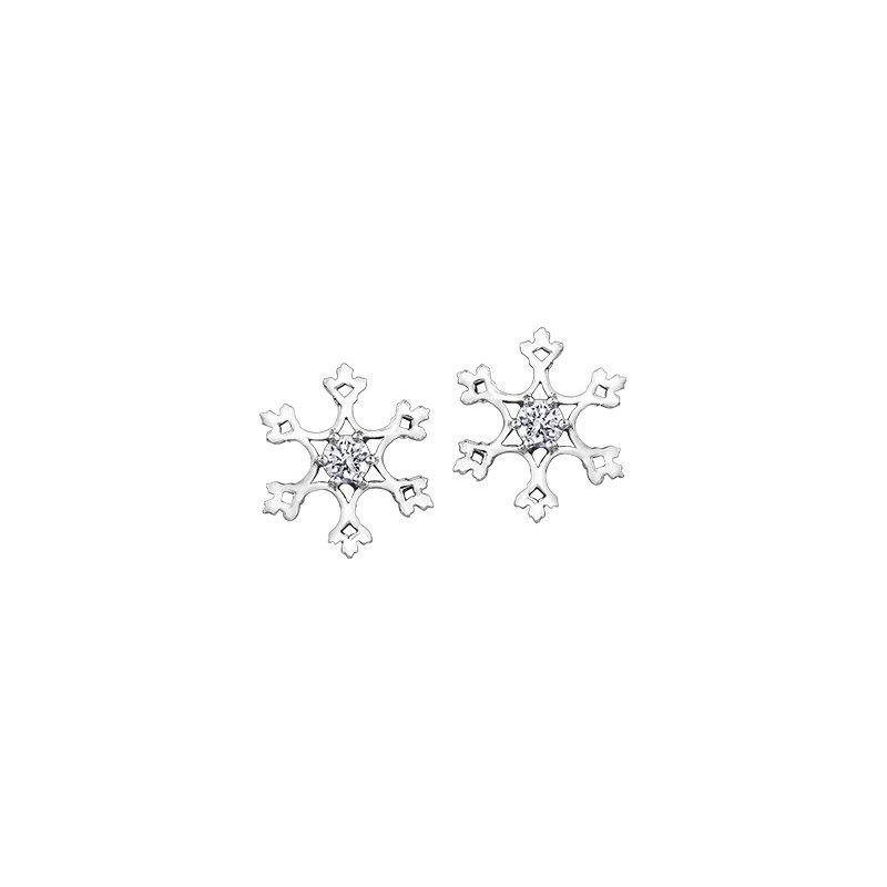 Maple Leaf Diamonds Winter Snowflake Stud Earrings