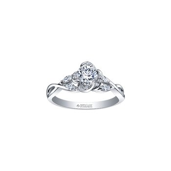 Wind's Embrace Rose Engagement Ring in White Gold