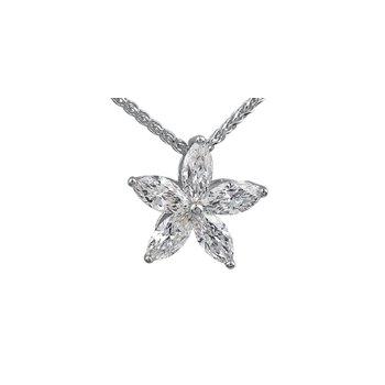 Marquise Cut Diamond Flower Pendant