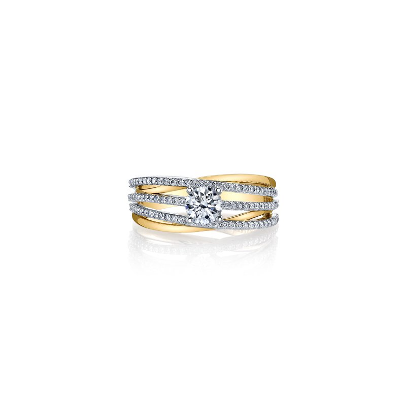 Maple Leaf Diamonds Three Row Diamond Ring