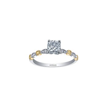 Two Tone Diamond Radiant Cut Engagement Ring