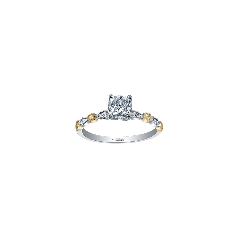 Maple Leaf Diamonds Two Tone Diamond Radiant Cut Engagement Ring