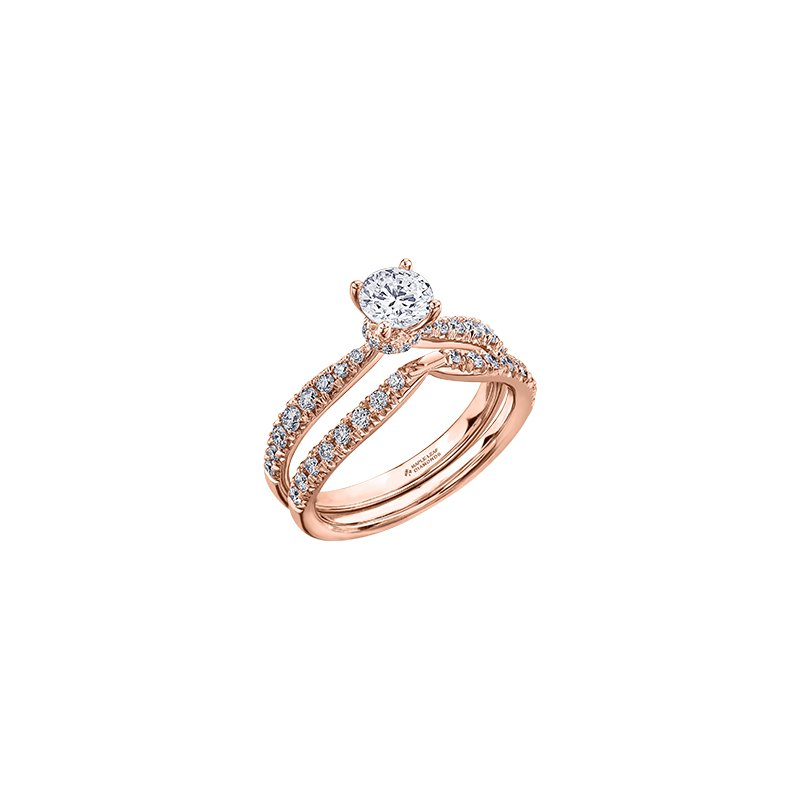 Maple Leaf Diamonds Circle of Love Tapered Diamond Set Engagement Ring in Rose Gold