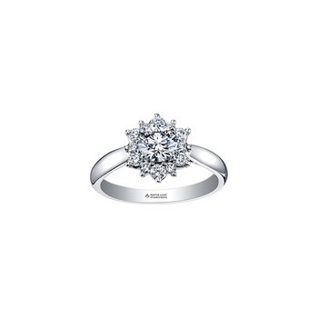 Tides of Love Classic Halo Engagement Ring in White Gold