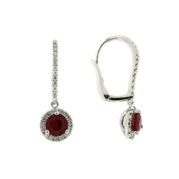 Ruby Halo Drop Earrings