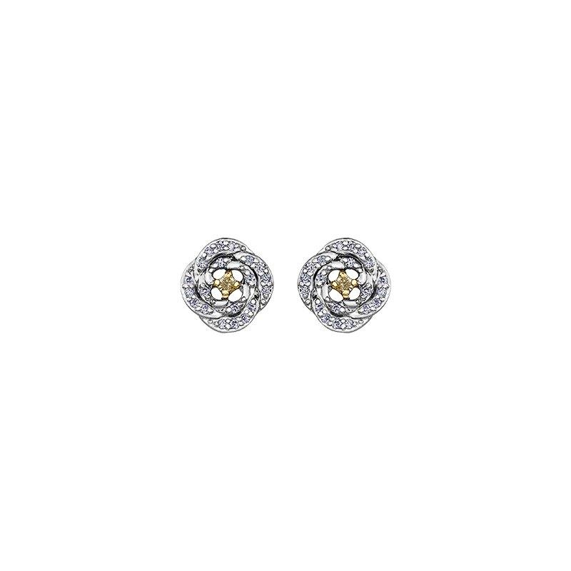 Maple Leaf Diamonds Natural Fancy Yellow Diamond Stud Earrings