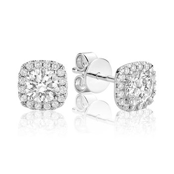 Diamond Cushion Halo Stud Earrings