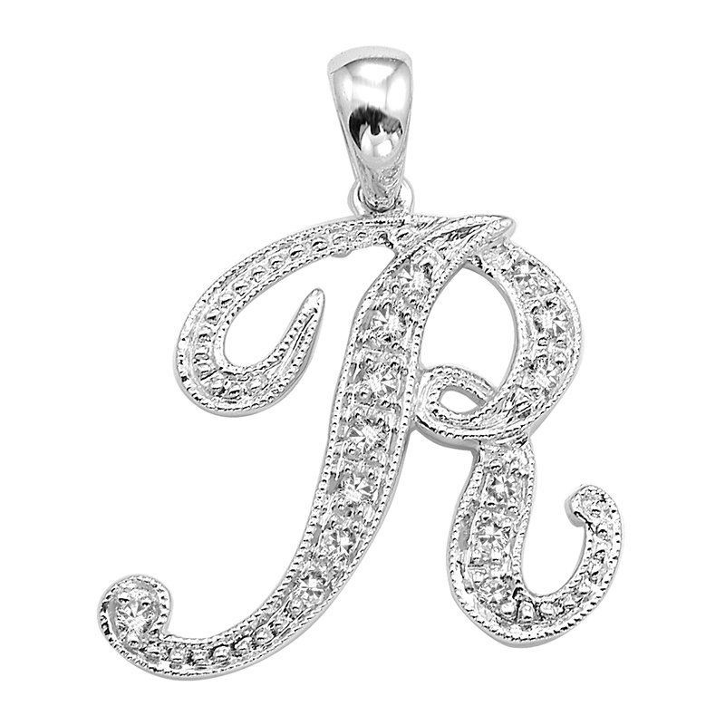 RnB Jewellery Script Initial Letter Pendants in White Gold