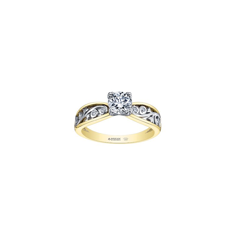 Maple Leaf Diamonds Summer Garden Infinity Ring in Yellow Gold