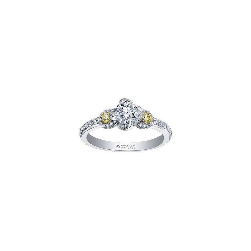 Maple Leaf Diamonds Wind's Embrace Three Stone Yellow Diamond Engagement Ring