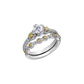 Wind's Embrace Three Stone Yellow Diamond Engagement Ring