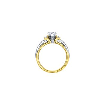 Eternal Flames 3 Stone Engagement Ring in Yellow Gold
