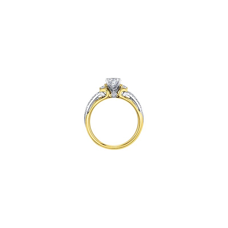 Maple Leaf Diamonds Eternal Flames 3 Stone Engagement Ring in Yellow Gold