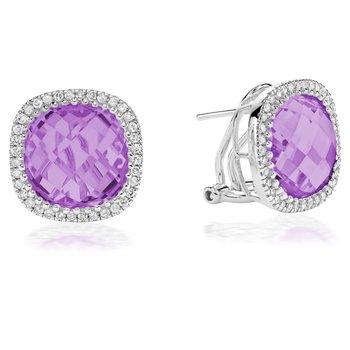 Gemstone and Diamond Stud Earrings