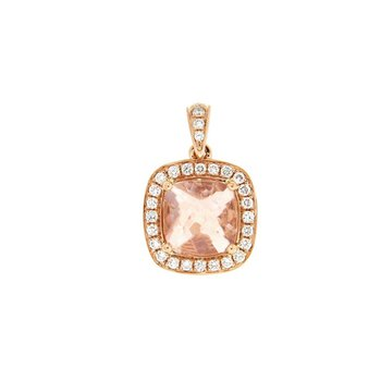 Morganite Cushion Halo Pendant