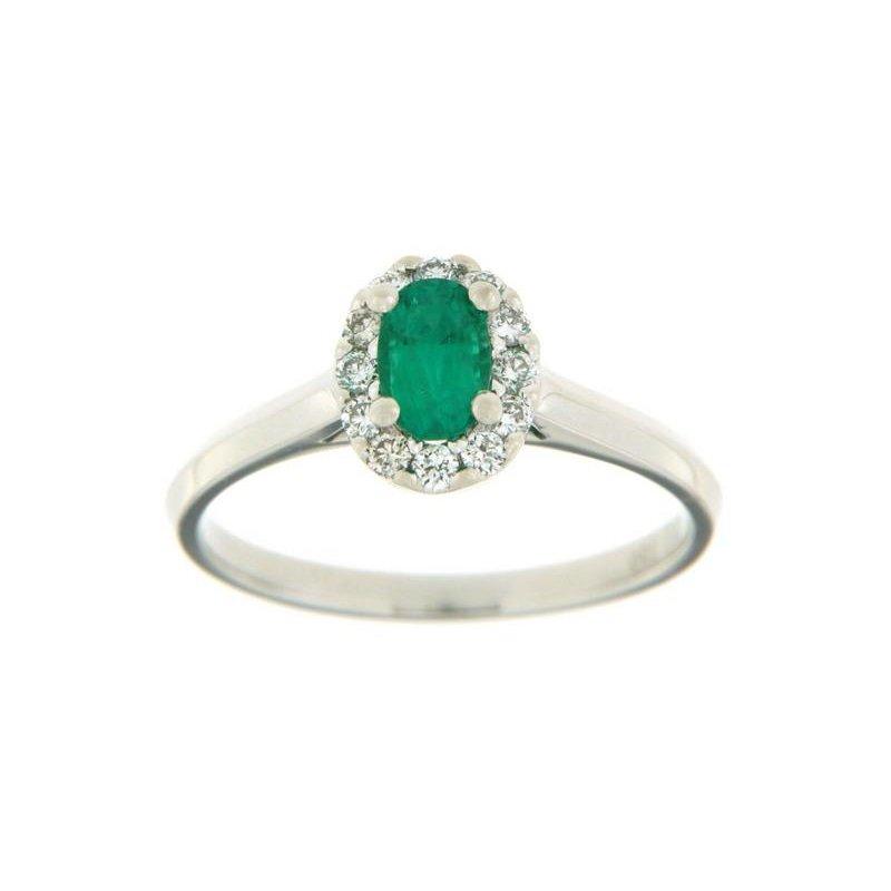 Davidson's Signature Oval Emerald Halo Ring