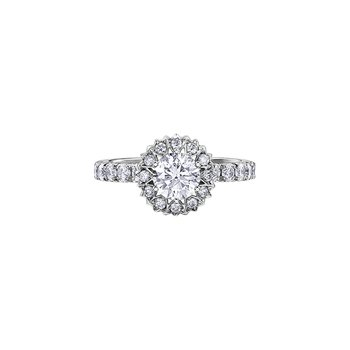 150 Cut Collection Maple Leaf Diamond Halo Engagement Ring
