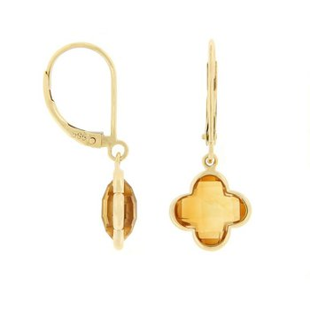 Citrine Quatrefoil Drop Earrings