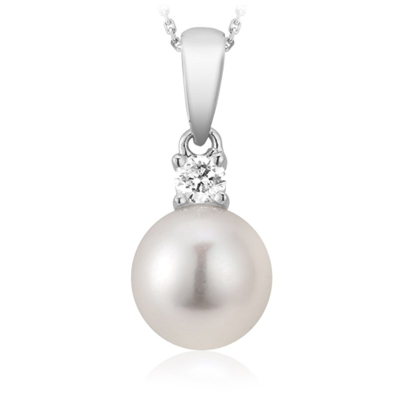 RnB Jewellery Diamond and Pearl Classic Pendant