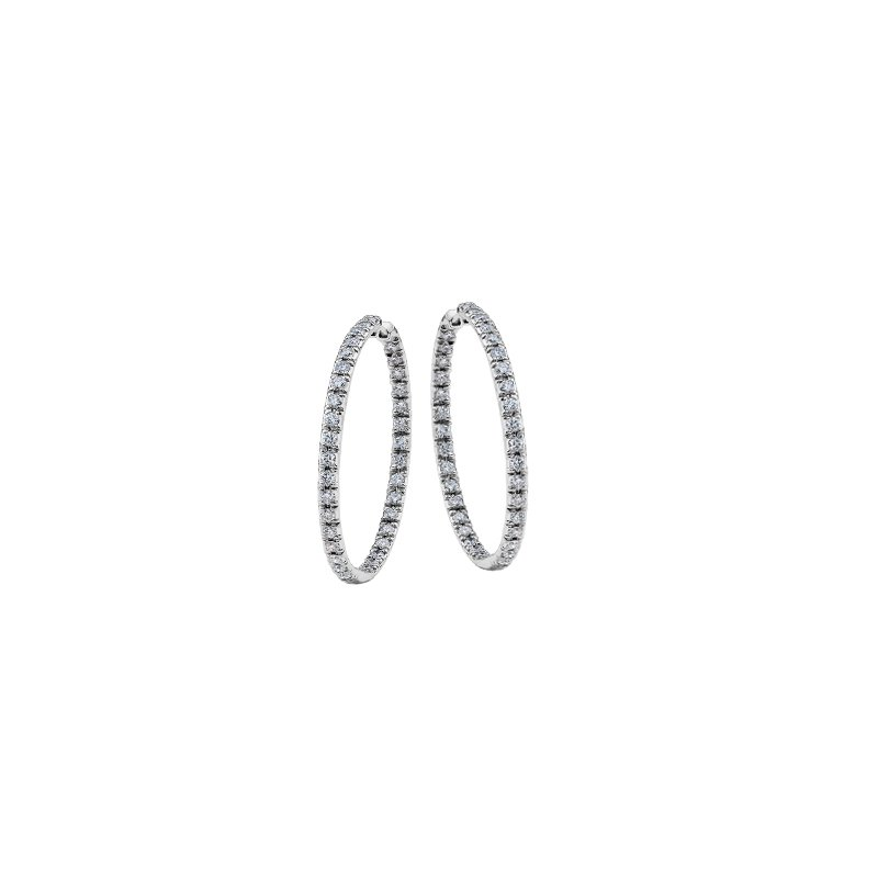 Maple Leaf Diamonds In and Out Diamond Hoop Earrings